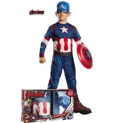 Disfraz de Capitán América con Escudo en Caja para Niño