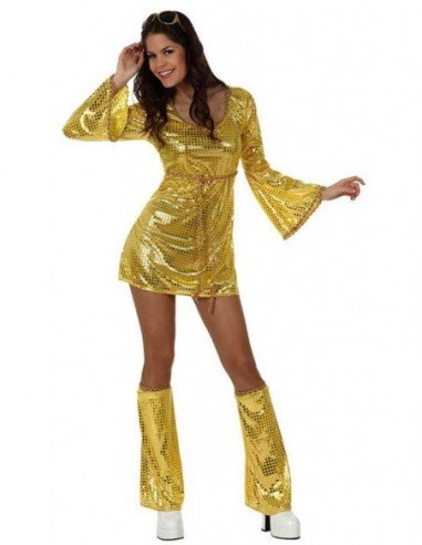 Disfraz de Chica Disco Dorado Adulta