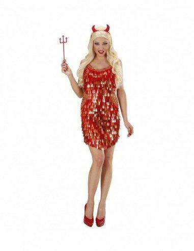 Vestido con Lentejuelas Rojo-Oro