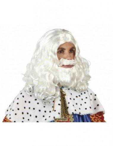 Peluca con Barba de Rey Mago Blanca
