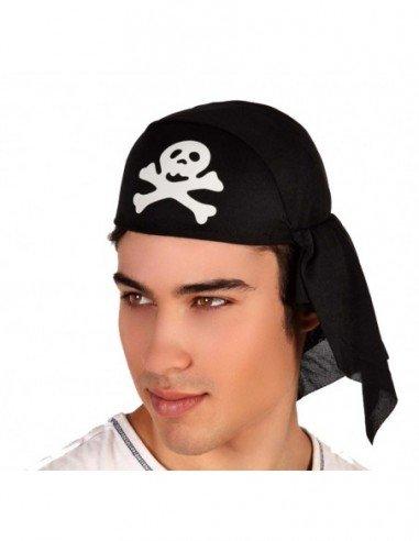 Pañuelo Pirata Negro con Calavera