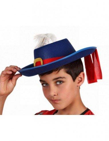 Sombrero de Mosquetero Azul para Niños