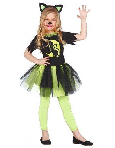 Disfraz de Gatita Verde Infantil