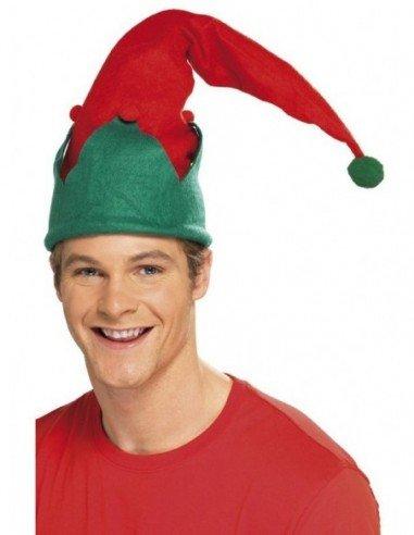 Sombrero de Elfo Rojo y Verde con Pompom