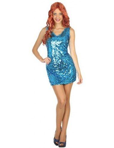 Disfraz de Chica Disco Azul