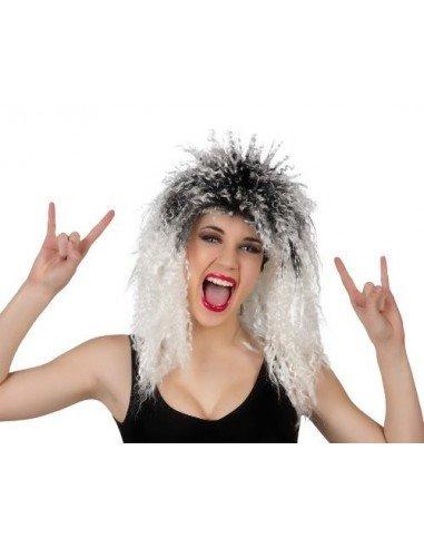 Peluca Rockera Rizada Blanca-Negra