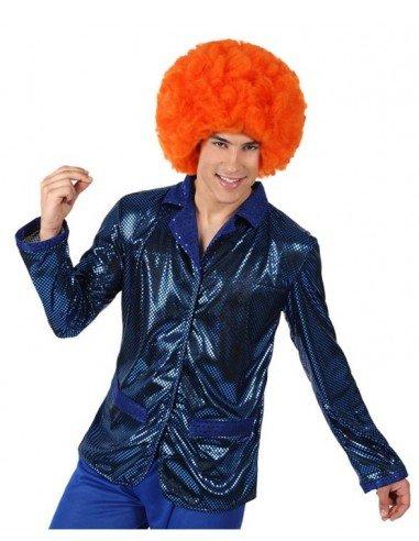 Camisa Disco Brillo Azul Hombre