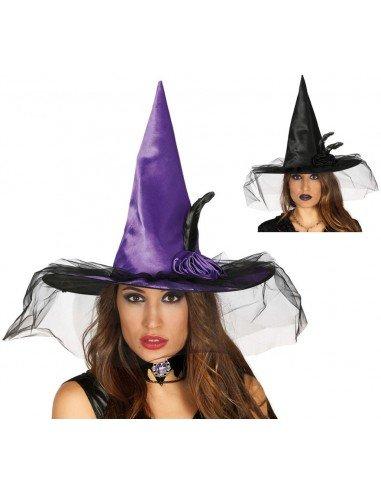 Sombrero de Bruja con Flor Negro