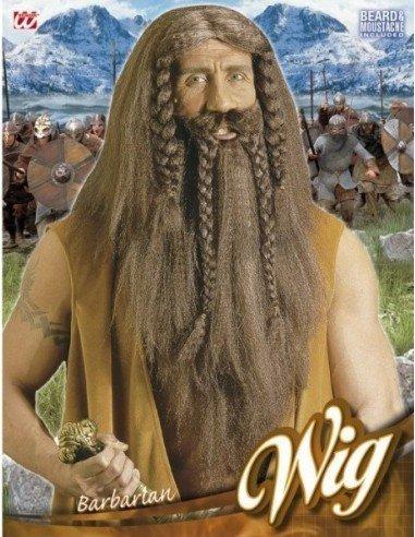 Peluca con Barba Larga de Vikingo