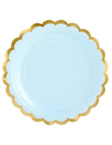 Pack 6 platos azul claro 18 cm