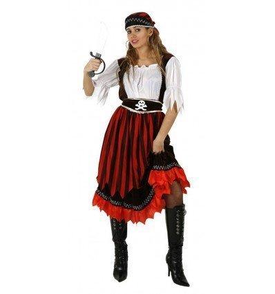 Disfraz de Mujer Pirata Rayas Adulta