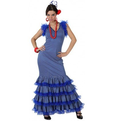 Disfraz de Flamenca Azul Lunar Blanco Adulta